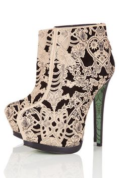 **Lace Wing Ankle Boots by CJG