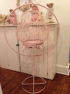 Rare Antique Vintage Iron Victorian Bird Cage & Stand, Can Hang Chandelier Insid