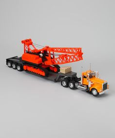 Look what I found on #zulily! Kenworth W900 Lowboy & Construction Crane Set #zulilyfinds