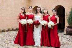 On her journey to becoming a Mrs., a bride selects a few of her closest companions to take a vow of indentured servitude otherwise known becoming a bridesmaid. These ladies Red Bridemaids Dresses, Mix Match Bridesmaids, Red Bridesmaids, Bridesmaid Dress Colors, Wedding Bridesmaid Dresses, Selfies, Glamour, Wedding Styles, Wedding Ideas