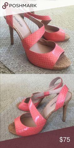 Bebe Fashion Heel Like New, coral wrap fashion heel, 4.5 inches bebe Shoes Heels