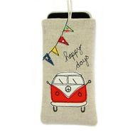 A fabric smartphone sleeve with a red splitscreen VW camper appliqué and bright bunting that is custom made to fit most smartphones, including: All Apple iPhones and iPods, Samsung Galaxy S2, S3, S4, S3 Mini, HTC, Nexus 4, Blackberry, Nokia Lumia, Sony...
