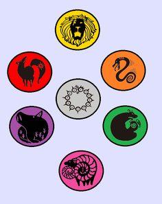 Nanatsu no Taizai ~ Seven Deadly Sins Symbols -- Lion's Sin of Pride, Serpent's Sin of Envy, Grizzy's Sin of Sloth, Goat's Sin of Lust, Boar's Sin of Gluttony, Fox's Sin of Greed, and Dragon's Sin of Wrath