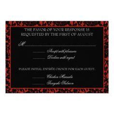 Gothic RSVP Cards Gothic Floral Red & Black Damask RSVP Monogram Card