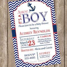 Chevron Ahoy it's a boy baby shower invitation, red, blue, anchor, nautical, digital file
