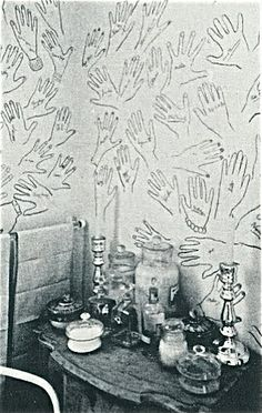 Powder Room at Cecil Beaton's Home  He would ask Guests to stencil their hands and sign it