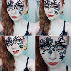 You'll need to dig out your thinnest liquid eyeliner pen for this intricate #Halloween mask.