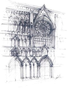 architecture sketch of the facade of the Northernmost medieval cathedral in Europe - Nidarosdomen - #Norway