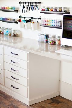 Best Craft Room Storage and Organization Furniture Ideas Cheap Craft Room Storage Cabinets Shelves Ideas Craft Room Storage Cabinets Shelves Ideas 17 Craft Room Storage, Craft Organization, Craft Room Shelves, Organizing Tips, Craftroom Storage Ideas, Craft Room Closet, Craft Room Tables, Closet Desk, Ikea Craft Room