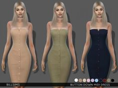 The Sims Resource: Button Down Midi Dress by Bill Sims • Sims 4 Downloads Check more at http://sims4downloads.net/the-sims-resource-button-down-midi-dress-by-bill-sims/