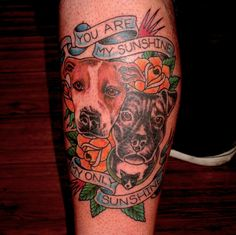 Dog portraits tattoo by Jon Reed, All Saints Tattoo, Austin TX.