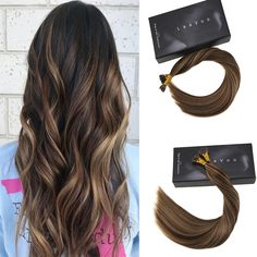 I Tip Pre Bonded Keratin Remy Human Hair Extensions Straight Style Color #4/27 #itiphair #prebondedhairextensions #humanhair #salon #haircolor #chocolatebrownhair #darkbrownhair