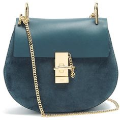 Chloé Drew small suede and leather cross-body bag ($1,950) ❤ liked on Polyvore featuring bags, handbags, shoulder bags, blue, leather purses, blue leather shoulder bag, crossbody purses, blue leather handbags and leather cross body purse
