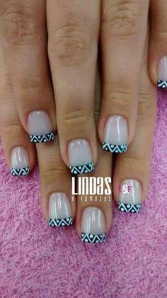 French Nail Art, French Tip Nails, Diva Nails, Nail Polish Art, Diy Nail Designs, Easy Nail Art, Nail Arts, Manicure And Pedicure, Toe Nails