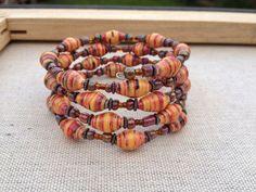 Autumn Paper Bead memory wire wrap around bracelet  by stillrain, $22.00