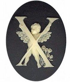 "Item#160x Acrylic 40x30 black/ivory letter ""X"" cameo"
