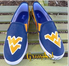 West Virginia Shoes/KEDS/College Sport Shoes/Painted by GranArt