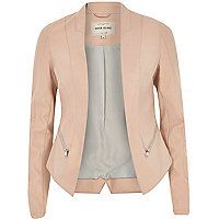 Light pink leather-look fitted jacket