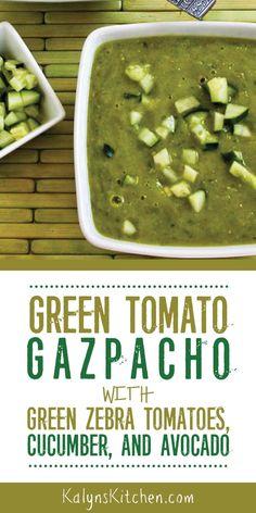 Green Tomato Gazpacho with Green Zebra Tomatoes, Cucumber, and Avocado – Kalyn's Kitchen Salsa Fresca Recipe, Best Salsa Recipe, Tomato Salsa Recipe, Fresh Tomato Salsa, Tomato Gazpacho, Tomato Soup, Green Zebra Tomato, Mexican Salsa Recipes