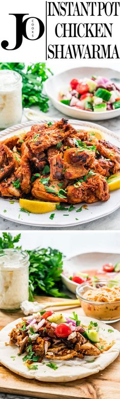 This Instant Pot Chicken Shawarma will blow your mind! Try my easy and popular chicken shawarma recipe now in an instant pot with an amazing garlic sauce. Better than takeout and ready in no time. www.jocooks.com #shawarma via @jocooks