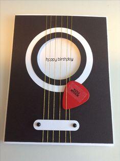 Gitarren-Geburtstagskarte mit echtem Plektrum, Stampin & # 39; Nach oben! Word Window Punch, ..., #amp #echtem #GitarrenGeburtstagskarte #mit #nach #Oben #Plektrum #Punch #Stampin #Window #word