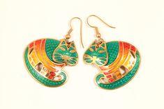 Details About Edgar Berebi Cat Pierced Earrings Enamel Gold Tone 1980s Green Orange Yellow Red