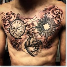 Men Chest Cover Up With Compass Pocket Watch With Heart Tattoo
