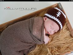 Football hat for newborn baby photo prop on Etsy, $9.00