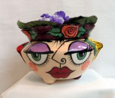 Ceramic African Violet Flower Pot  Impressionistic Picasso Style Face & Flowers 2 Piece Self Watering Violet Planter on Etsy by artistsloftppaquin1 on Etsy