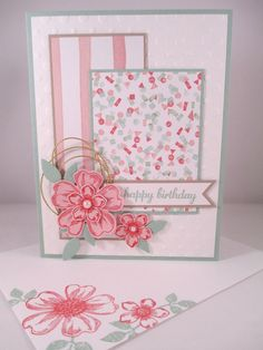 """Stampin Up """"Flower Shop"""" Handmade Pink/Mint Happy Birthday Card 