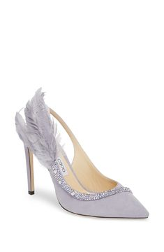 Shop a great selection of Jimmy Choo Tacey Crystal Feather Embellished Slingback Sandal (Women). Find new offer and Similar products for Jimmy Choo Tacey Crystal Feather Embellished Slingback Sandal (Women). High Heel Pumps, Pump Shoes, Jimmy Choo, Slingback Sandal, Purple Wedding, Feather, Nordstrom, Crystals, Lavender Weddings