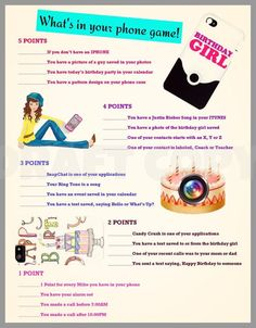 Girls Birthday Party Game-Whats in your phone?