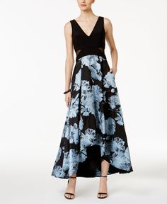Xscape Illusion-Inset Floral-Print High-Low Gown