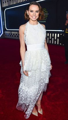 Daisy Ridley in a white Chloe dress at the Star Wars premiere