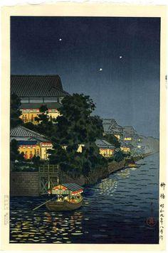 Koitsu Japanese Woodblock Print Summer Night on River 1934 | eBay