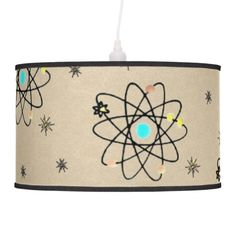 Retro 50s Atomic Print Sand Print Table Lamp by Lee Hiller