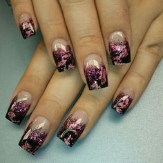 Cute, pink and black nails...glittery too