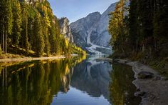 Download wallpapers Dolomites, forest, lake, mountains, Europe, Alps, Italy
