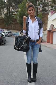 jeans, button down and vest