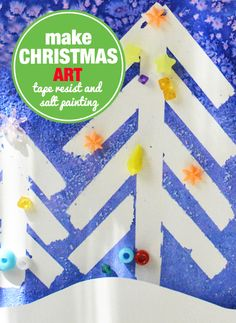 Make Christmas Art with your Toddler and Preschooler - Salt painting and tape resist