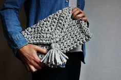 Excited to share the latest addition to my #etsy shop: Crochet Bag, Christmas Gift, Knitted Bag, T Shirt Yarn Bag, Grey Clutch Bag, Evening Bag, Boho Handbag, Festival Bag, Handknit Clutch http://etsy.me/2z33xoh