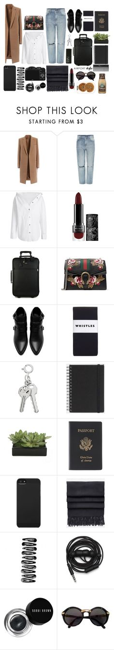 """A I R P O R T"" by harperstewart ❤ liked on Polyvore featuring Dr. Denim, Kat Von D, Dolce&Gabbana, Gucci, Zara, NARS Cosmetics, Whistles, Muji, Lux-Art Silks and Royce Leather"