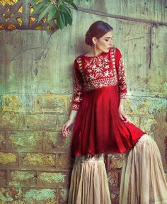 Red dress Pakistani Couture, Pakistani Outfits, Indian Outfits, Indian Attire, Indian Wear, Ethnic Fashion, Asian Fashion, Colorful Outfits, Simple Dresses