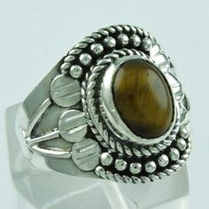 TIGER EYE STONE GALLERY DESIGN 925 STERLING SILVER RING _ EXPORTER INDIA #SilvexImagesIndiaPvtLtd #Statement