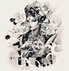 👩🏻👘🦊 Artwork by: Cindy Liu Location: Toronto ON, Canada Artist's IG: Japanese Geisha Tattoo, Japanese Tattoo Designs, Body Art Tattoos, Girl Tattoos, Sleeve Tattoos, Samurai Tattoo, Samurai Art, Art Geisha, Geisha Tattoo Design