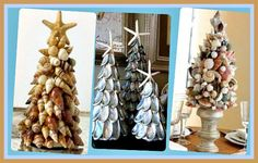 Seashell Christmas tree topiaries are a fabulous way to bring the beach inside to decorate with a Christmas coastal theme.