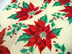 Vintage Christmas Gift Wrap Poinsettias Red Green Full by meaicp