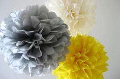 Items similar to 10 Tissue Pom Poms - Your Color Choice- SALE - Yellow and Gray Party Decorations - Shabby Chic Decor - Rustic Barn wedding - on Etsy Tissue Paper Ball, Tissue Pom Poms, Paper Poms, Paper Balls, Tissue Balls, Craft Font, Wedding Ceiling, Best Wedding Colors, Flower Ball