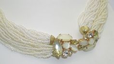 Two-Tone Multi-Strand Glass Bead Torsade Necklace With Ornate Rhinestone Clasp