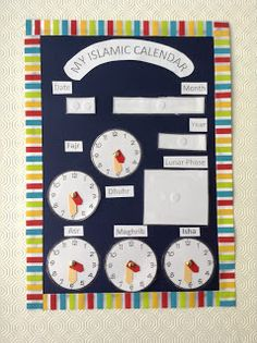 Islamic Calendar for Children - Muslim Homeschooling Resources Class Decoration, School Decorations, Eid Decorations, Ramadan Activities, Activities For Kids, Teaching Kids, Kids Learning, Learning Arabic, Muslim Book